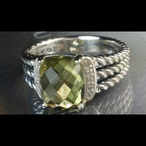 David Yurman Wheaton Lemon Citrine & Diamond Ring